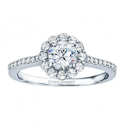 Rm1058-14k White Gold Round Cut Halo Diamond Semi Mount Engagement Ring