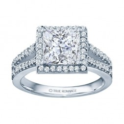 Rm1098p-14k White Gold Halo Semi Mount Engagement Ring