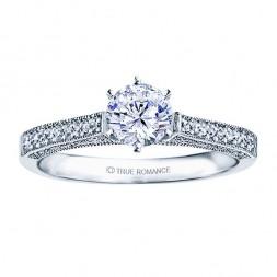 Rm1118-14k White Gold Vintage Semi Mount Engagement Ring
