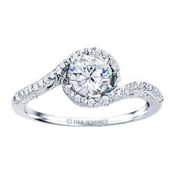 Rm1159-14k White Gold Vintage Semi Mount Engagement Ring