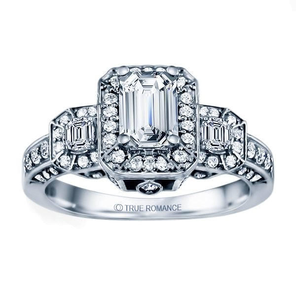 Rm1256e-14k White Gold Halo Semi Mount Engagement Ring