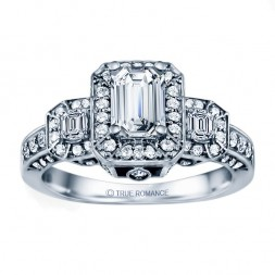Rm1256e-14k White Gold Halo Engagement Ring