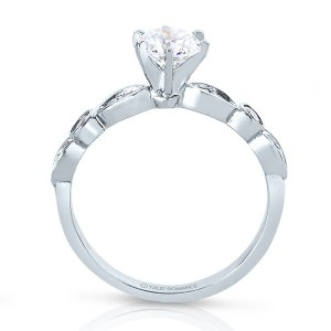 Rm1292 -14k White Gold Round Cut Diamond Infinity Engagement Ring