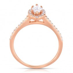 Rm1301m-14k Rose Gold Marquise Cut Halo Diamond Semi Mount Engagement Ring