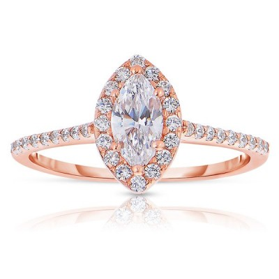 Rm1301m-14k Rose Gold Marquise Cut Halo Diamond Engagement Ring