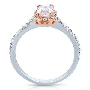 Rm1309ett-14k White Gold Emerald Cut Halo Diamond Semi Mount Engagement Ring