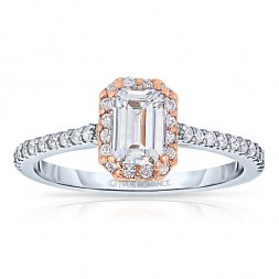 Rm1309ett-14k White Gold Emerald Cut Halo Diamond Engagement Ring