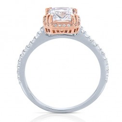 Rm1309ptt-14k Rose Gold Princess Cut Halo Diamond Semi Mount Engagement Ring