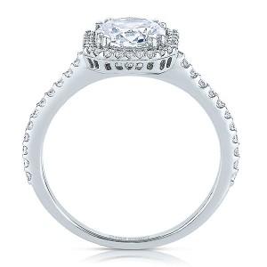Rm1309r-14k White Gold Round Cut Halo Diamond Semi Mount Engagement Ring