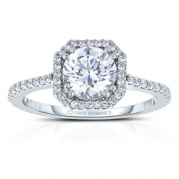 Rm1309r-14k White Gold Round Cut Halo Diamond Engagement Ring