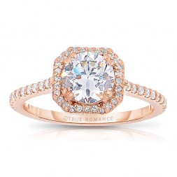 Rm1309rs-14k Rose Gold Round Cut Halo Diamond Semi Mount Engagement Ring
