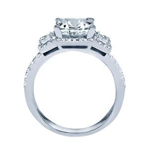 Rm1315-14k White Gold Princess Cut Halo Diamond Semi Mount Engagement Ring