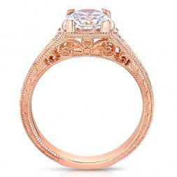 Rm1316-14k White Gold Round Cut Diamond Vintage Style Semi Mount Engagement Ring