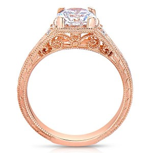 Rm1316-14k White Gold Round Cut Diamond Vintage Style Engagement Ring