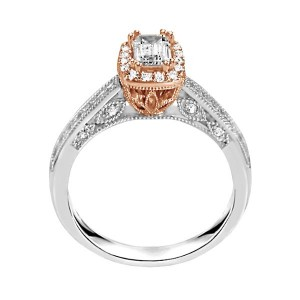 Rm1319e-14k White Gold Emerald Cut Halo Diamond Vintage Engagement Ring