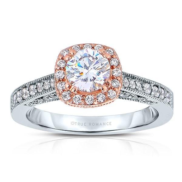 Rm1319r -14k White Gold Round Cut Halo Diamond Vintage Semi Mount Engagement Ring