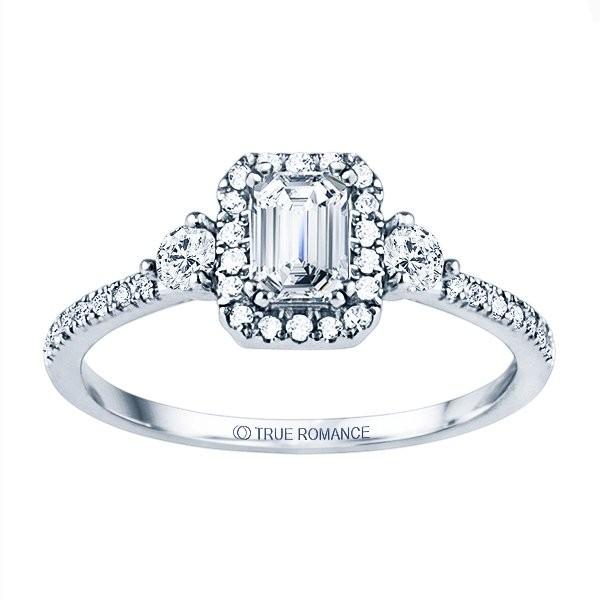 Rm1345e-14k White Gold Emerald Cut Halo Diamond Semi Mount Engagement Ring