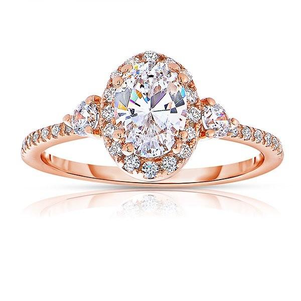 Rm1345vrs-14k Rose Gold Oval Cut Halo Diamond Semi Mount Engagement Ring
