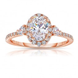 Rm1345vrs-14k Rose Gold Oval Cut Halo Diamond Semi Mount Engagement Ring