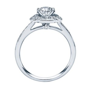 Rm1347-14k White Gold Round Cut Halo Diamond Engagement Ring