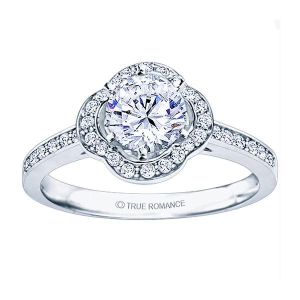 Rm1347-14k White Gold Round Cut Halo Diamond Semi Mount Engagement Ring