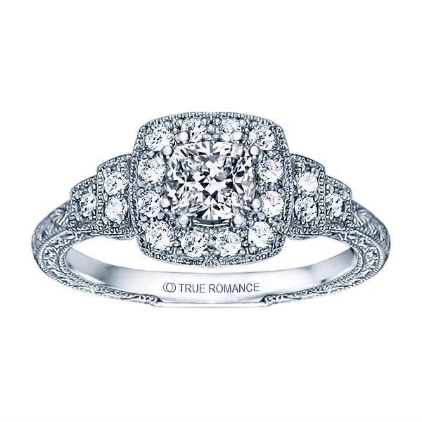 Rm1360cu -14k White Gold Cushion Cut Halo Diamond Vintage Semi Mount Engagement Ring