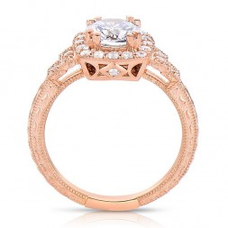 Rm1360r -14k Rose Gold Round Cut Halo Diamond Vintage Semi Mount Engagement Ring