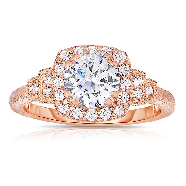 Rm1360r -14k Rose Gold Round Cut Halo Diamond Vintage Engagement Ring