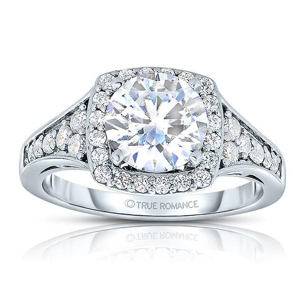 Rm1374x-14k White Gold Round Cut Halo Diamond Semi Mount Engagement Ring