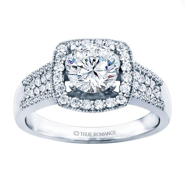 Rm1375-14k White Gold Halo Semi Mount Engagement Ring