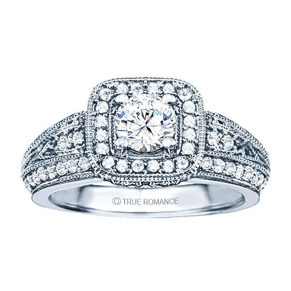 Rm1377-14k White Gold Vintage Semi Mount Engagement Ring