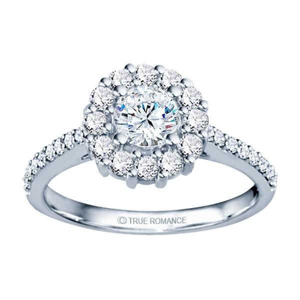 Rm1381-14k White Gold Round Cut Halo Diamond Semi Mount Engagement Ring