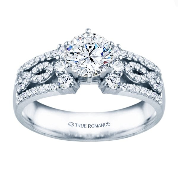 Rm1386-14k White Gold Infinity Semi Mount Engagement Ring