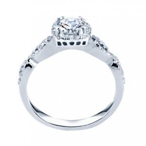 Rm1390-14k White Gold Round Cut Halo Diamond Infinity Semi Mount Engagement Ring