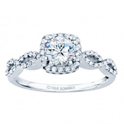 Rm1390-14k White Gold Round Cut Halo Diamond Infinity Engagement Ring