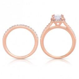 Rm1390r_set -14k Rose Gold Round Cut Halo Diamond Infinity Semi Mount Engagement Ring