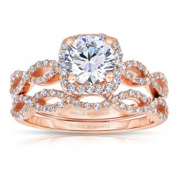 Rm1390r_set -14k Rose Gold Round Cut Halo Diamond Infinity Semi Mount Engagement Ring
