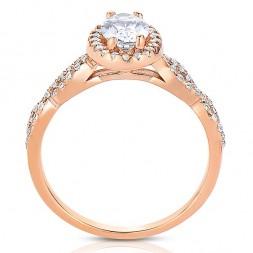 Rm1390vrs -14k Rose Gold Oval Cut Halo Diamond Infinity Semi Mount Engagement Ring