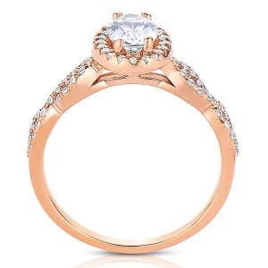 Rm1390vrs -14k Rose Gold Oval Cut Halo Diamond Infinity Semi Mount Engagement Ring