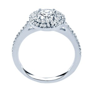 Rm1394-14k White Gold Halo Semi Mount Engagement Ring