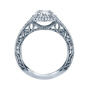 Rm1403 -14k White Gold Round Cut Double Halo Diamond Vintage Semi Mount Engagement Ring