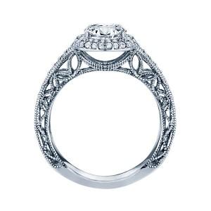 Rm1403 -14k White Gold Round Cut Double Halo Diamond Vintage Semi Mount Engagement Ring