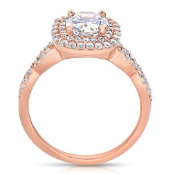 Rm1404r_rs-14k Rose Gold Round Cut Double Halo Diamond Infinity Semi Mount Engagement Ring