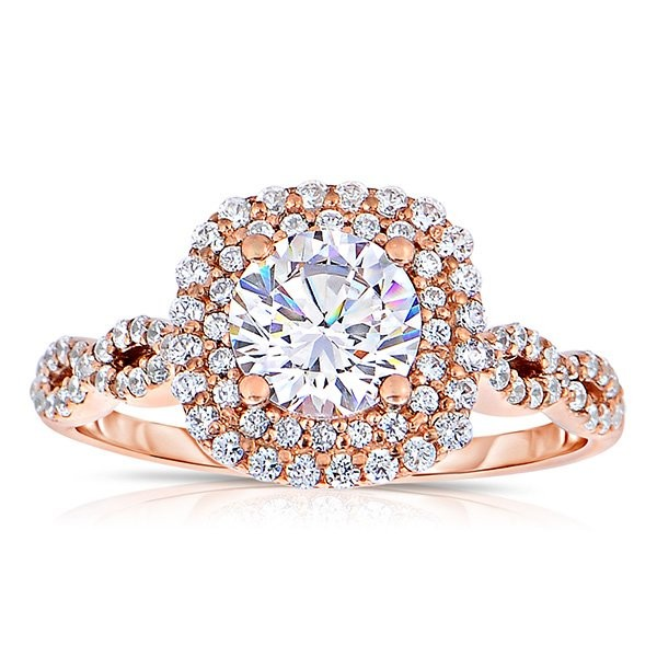 Rm1404r_rs-14k Rose Gold Round Cut Double Halo Diamond Infinity Engagement Ring