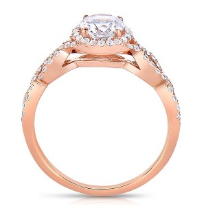Rm1406-14k Rose Gold Round Cut Halo Diamond Infinity Semi Mount Engagement Ring
