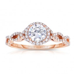 Rm1406-14k Rose Gold Round Cut Halo Diamond Infinity Engagement Ring