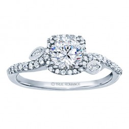 Rm1407r-14k White Gold Halo Semi Mount Engagement Ring