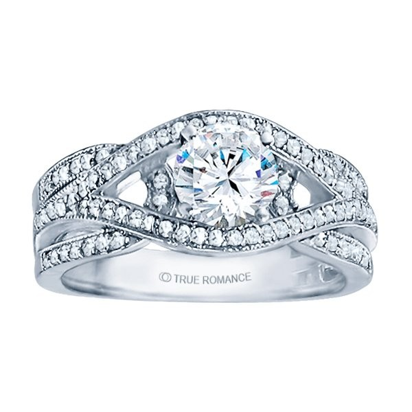Rm1413-14k White Gold Infinity Semi Mount Engagement Ring