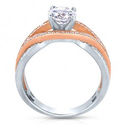 Rm1413tt -14k Rose Gold Round Cut Diamond Bi-pass Semi Mount Engagement Ring