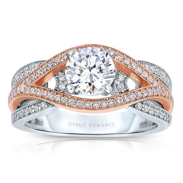Rm1413tt -14k Rose Gold Round Cut Diamond Bi-pass Semi Mount Engagement Ring